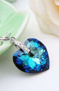 bermuda blue Heart Swarovski Crystal Necklace