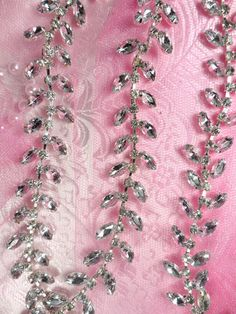 XR115 Silver Crystal Clear Rhinestone Leaf Vine Trim ~ Bridal Cake Decoration  #LeafLeaves