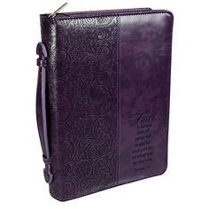 "Purple ""Faith"" Bible / Book Cover - Hebrews 11:1 (Large) - http://www.darrenblogs.com/2016/12/purple-faith-bible-book-cover-hebrews-111-large/"