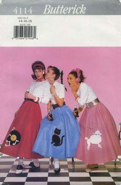 Retro Vintage Circle Skirt / Poodle Skirt Sewing Pattern | Butterick 4114 | Year 1995 | Waist 28-32 | Hip 38-42 | Girls Sizes Butterick 4113