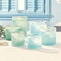 Set of 3 Seaglass Tealight Candle Holders Asst 2 Colors © Two's Company