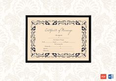 Beautiful Motif Gift Certificate Template - Get high quality, professionally designed template. Templates are available in Word & PDF Formats. Certificate Format, Wedding Certificate, Gift Certificate Template, Marriage Certificate, Certificate Design, Marriage License, Marriage Advice, Free Printable Gift Certificates, Baby Announcement Cards