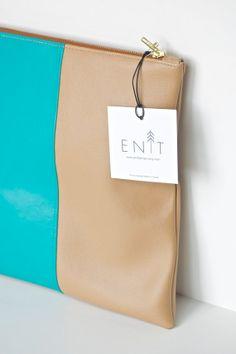 Clutch Purse Large Foldover Faux leather Beige Aqua by enitdesign, $40.00