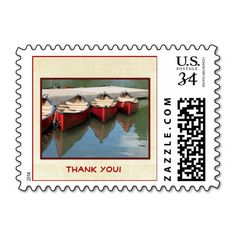 """""""Thank You"""" Three Red Canoes Postage Stamp - This photo of three red canoes and their reflection is a lake is a fun and unique postage stamp for postcard """"Thank You"""" notes for Birthdays, Retirement, or other occasions. Matches Zazzle.com postcard item 239675192032141442. This stamp is for postcards, but can be changed to other denominations (select """"Choose Rate""""). You can also easily change text.  Original photo by M Socolik. All Rights Reserved © 2014 Alan & Marcia Socolik. #ThankYou…"""