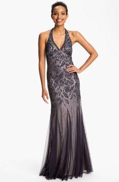Long Beaded Mesh Halter Gown