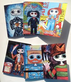 Super Cute Halloween / Horror themed cards. Work for all occasions 6 Designs, Pinhead, Jason, Freddy, Lechter, Chucky, Jigsaw Super Kawaii by Dweeblings on Etsy Cute Halloween, Halloween Horror, Chloe, Super Cute, Chucky, Kids Playing, Kawaii, Etsy, Cards