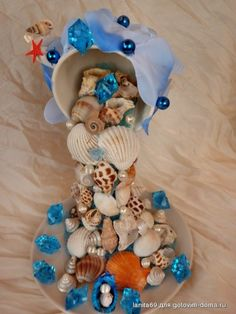 Sea Glass Crafts, Seashell Crafts, Seashell Ornaments, Tea Cup Art, Tea Cups, Clear Christmas Ornaments, Floating Tea Cup, Teacup Crafts, Mermaid Crafts