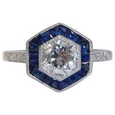 Art Deco 1.69 Carats Diamonds Sapphire Engagement Ring in Platinum