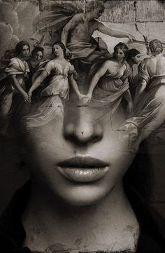 "'Eos' by Antonio Mora. - i-shutterbug - 'Eos' by Antonio Mora. ""Eos"" - a double exposure portrait photograph by acclaimed Spanish photographer Antonio Mora (Spain). Pinned from: pin. Bild Tattoos, Body Art Tattoos, Portraits En Double Exposition, Arte Obscura, Poses References, Desenho Tattoo, Arte Horror, Surreal Art, Double Exposure"