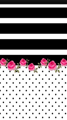 iPhone Wall - Black & white horizontal stripe with bright pink roses on polka dot bottom stripe.