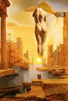 """Salvador  Dalí Pintura de la mano de Dalí """"Vellón de Oro"""" en  forma nube con Gala en desfile del Alba, completamente desnuda, muy, muy lejos el sol - Salvador Dalí (trabajo estereoscópico, componente izquierdo), 1977"""