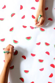 DIY hand stamped watermelon wrapping paper