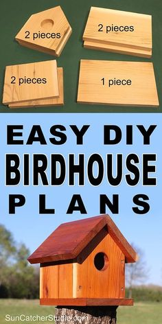 Easy DIY Birdhouse plans to attract birds to your backyard and garden. This bird house makes a great family project that the kids can help build.