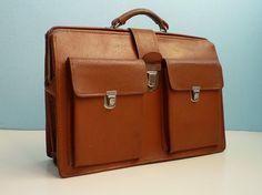 Vintage 70s doctor bag briefcase laptop bag caramel by EuroVintage, €89.00