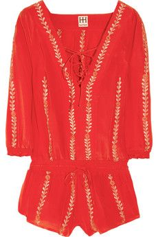 Haute Hippie, embroidered silk-crepe playsuit