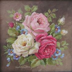 China Painting, Tole Painting, Painting & Drawing, Decoupage Vintage, Art Vintage, Romantic Roses, Beautiful Roses, Art Floral, Vintage Rosen