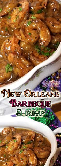 Indulge away with this buttery, creamy, spicy New Orleans Barbeque Shrimp, that has nothing to do with a grill by the way. They do things their own way in New Orleans, and that way is the tasty way! Recipe for New Orleans Barbeque Shrimp Cajun Dishes, Shrimp Dishes, Fish Dishes, Louisiana Recipes, Southern Recipes, Cajun Cooking, Cooking Recipes, Cajun Food, Easy Cooking