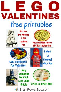 Looking for some awesome LEGO valentines? Check these out. You get all six designs totally free. These are perfect for my LEGO fan to give out at Valentine's day! Lego Valentines, Valentines For Boys, Valentine Day Crafts, Valentine Ideas, Walmart Valentines, Lego Activities, Activities For Boys, Valentines Day Activities, Valentine's Day Quotes