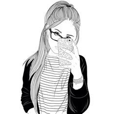 black line drawings Tumblr Outline Drawings, Tumblr Girl Drawing, Tumblr Sketches, Girly Drawings, Art Drawings Sketches, Tumbler Drawings, Doodle People, Girl Sketch, Black And White Drawing