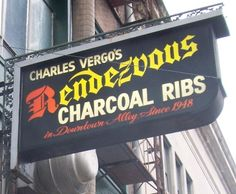 The Rendezvous Restaurant, a Memphis favorite, is located on Second Street near the Peabody Hotel.  It is world famous for Bar-B-Que since 1948 and is located down underneath buildings and streets. Even Elvis placed orders from here.