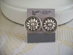 Beau Sterling Silver Flower Earrings  NOS by IsabelsVintage