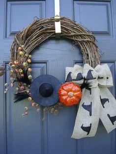 Pumpkin and Burlap Bow Halloween Wreath