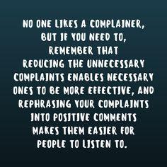Make your complaints productive