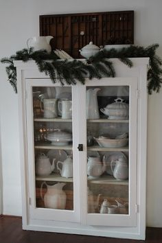 FARMHOUSE 5540 Love this cabinet with ironstone dishes displayed. Home Decor Furniture, Furniture Makeover, Farmhouse Decor, Farmhouse Style, White Farmhouse, Farmhouse Interior, French Farmhouse, Cottage Kitchens, Diy Décoration