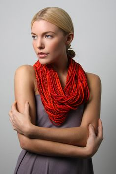 Necklace Cotton Tangerine Tango Apple Red Chunky Infinity Winter Scarf Necklaces Men Burning Man Womens Jersey Circle Scarves Summer Orange. $74.00, via Etsy.