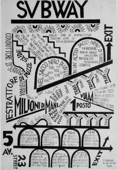 'Subway' Poster by Fortunato Depero, Print Graphic Design Illustration, Illustration Art, Typography Art, Lettering, Italian Futurism, Futurism Art, Design Movements, Futuristic Furniture, Design Graphique