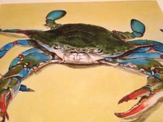 Blue Crab by CoastalArtByKatie on Etsy