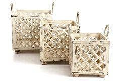 One Kings Lane - Patio Brights - Set of 3 Wood Baskets, Whitewash