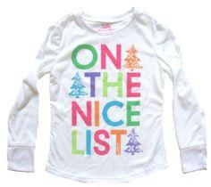 Girls On the Nice List Holiday Print Flame Resistant LS Sleepwear Top