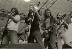 """ORIGINAL"""" MOLLY HATCHET Members ... Dave Hlubek (Guitar); Duane Roland (Guitar); Steve Holland (Guitar) & Banner Thomas (Bass) ... TEARIN' IT UP TOGETHER On Stage During The FLIRTIN' WITH DISASTER Tour 1979 -1980 ** THE ORIGINAL MOLLY HATCHET FRONTLINE!!"""