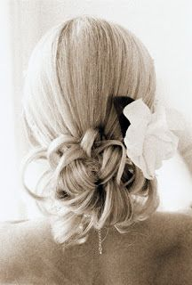 wedding updo for long hair - Google Search  I like this one because it's up and would stay well, but not totally fancy.