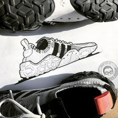 Sole patterns outlined with black or red with solid white inner color. Play with colorways. Shoe Sketches, Fashion Sketches, Athletic Trends, Sneakers Sketch, Adidas Design, Shoe Room, Industrial Design Sketch, Sketches Tutorial, Sneaker Art