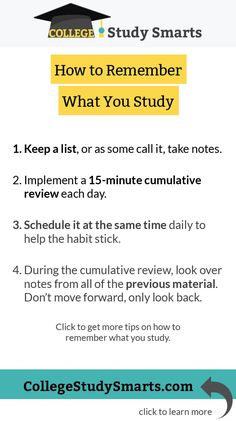 How to Remember What You Study (in only 15 minutes) - College Study Smarts Online College, Education College, College Teaching, Education Degree, Teaching Kids, Study Schedule, Study Techniques, Study Motivation Quotes, School Study Tips