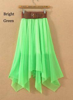 Irregular Hem Belted Pleated Chiffon Skirt