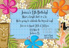 Luau Birthday Invita