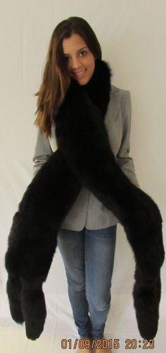 Black Fox Fur Stole Wrap Fling Double 9' Long 4 Tails Saks Fifth Avenue   eBay