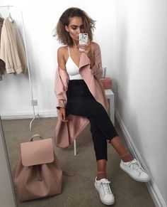 White canvas sneakers // AA fishnet ankle socks // pink suede jacket