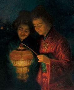 Jean Charles Pierre Houthuesen (Dutch, - Japanese Women with Lighted Lantern. Oriental, Chinese Paper Lanterns, Fairy Paintings, Lantern Lamp, Light My Fire, Western Art, Vintage Photographs, Vintage Japanese, Asian Art