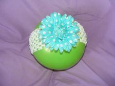 blue and white polka dot flower, white headband