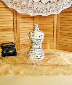 FRENCH SCRAP  Dress Form Mannequin pincushion / Necklace by lin168
