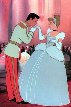 """Large still from """"Cinderella"""" of Cinderella and her prince meeting at the ball for the first time."""