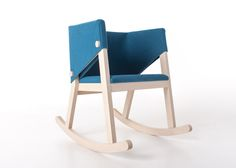 A single piece of felt wraps around the back and armrests of this solid wooden rocking chair by Rome designer Giancarlo Cutello (+ slideshow).Cutello designed the Ivetta chair for Italian design …