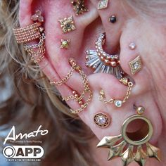 One of our favorite clients, the always . Pretty Ear Piercings, Types Of Ear Piercings, Ear Piercings Cartilage, Multiple Ear Piercings, Body Piercings, Piercing Tattoo, Double Cartilage, Tongue Piercings, Cartilage Piercings