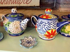 Damariscotta Pottery-Teapots painted by Juliana and max - Facebook: Damariscotta Pottery