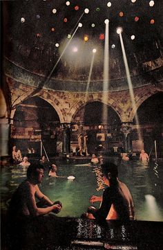 Men soak in mineral-laden F. waters of the Rudas Baths, built by the Turks in Sun streams through tinted glass like spotlight beams. People flock to Budapest's baths Turkish Bath House, Arthritis, Budapest Thermal Baths, In Loco, Tadelakt, Oh The Places You'll Go, Photos, Pictures, Water Features