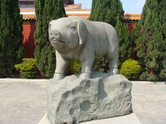 A local movie studio. Stone carvings for all the Chinese zodiac signs, I'm a pig